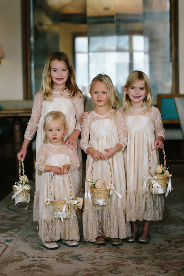 Flower girls in neutral dresses | The Little Nell Aspen Wedding | Cat Mayer Studio www.catmayerstudio.com