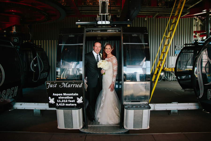 Bride and groom on Aspen gondola | Aspen wedding | Wedding photographer Cat Mayer Studio www.catmayerstudio.com