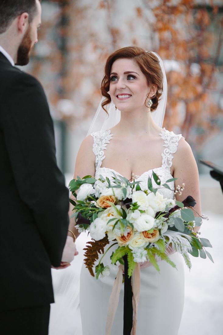 Cat Mayer Studio | www.catmayerstudio.com | Vail Wedding Photography | Park Hyatt Beaver Creek winter wedding | Bride smiling at groom
