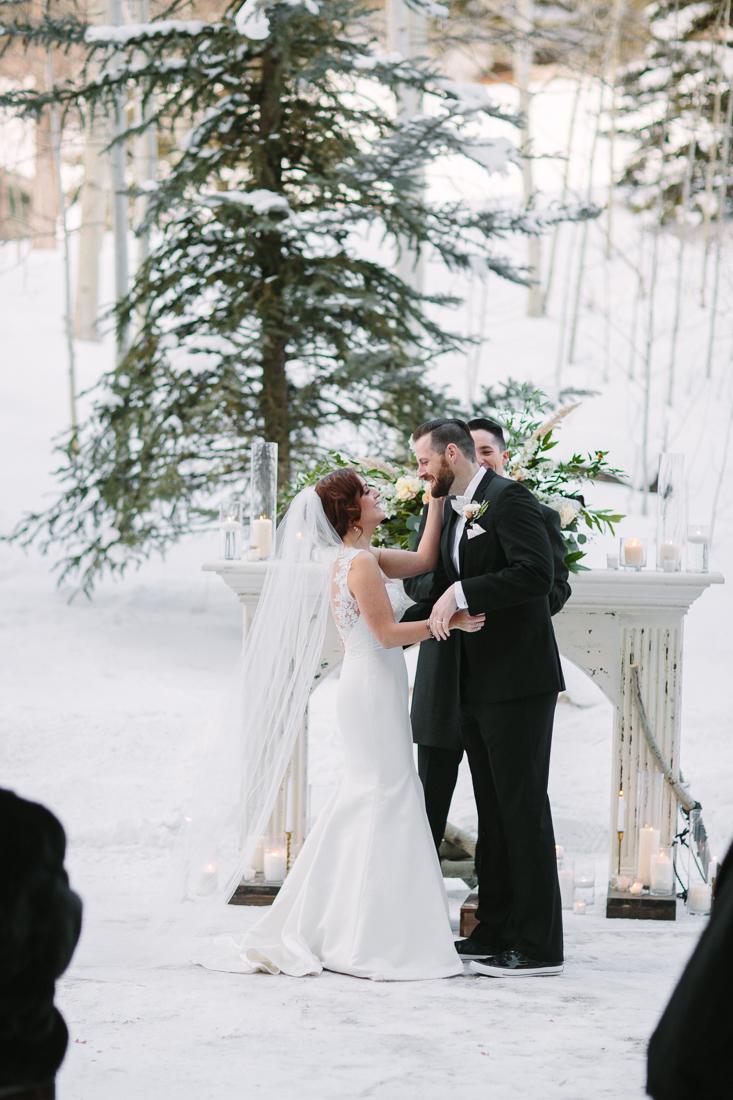 Cat Mayer Studio | www.catmayerstudio.com | Park Hyatt Beaver Creek Wedding | Bride and groom Vail wedding kiss