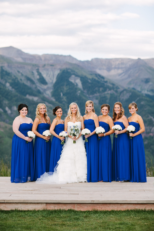 Cat Mayer Studio | www.catmayerstudio.com | San Sophia Overlook Telluride wedding photographer | Bride with bridesmaids in blue dresses