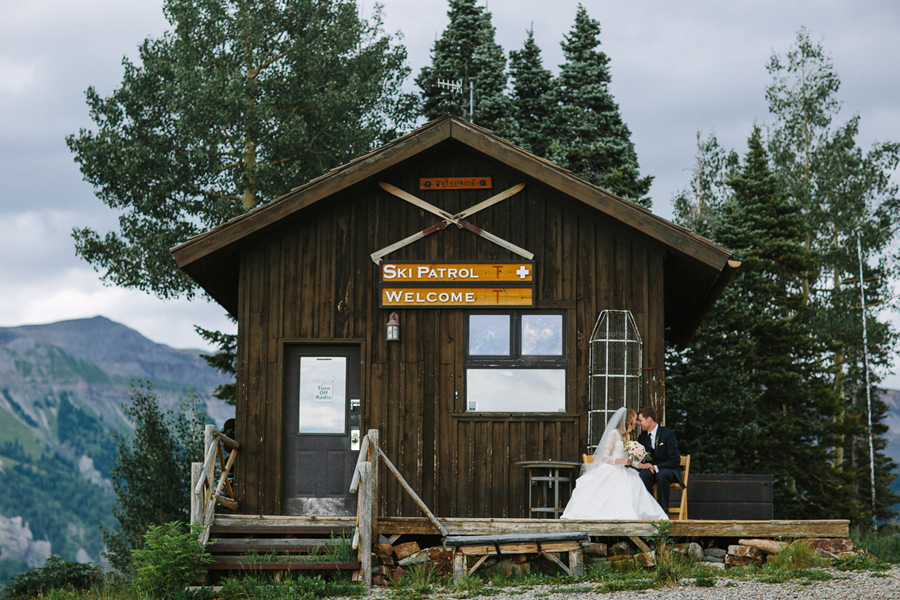 Bride and groom at Ski Patrol Lodge | Cat Mayer Studio | www.catmayerstudio.com