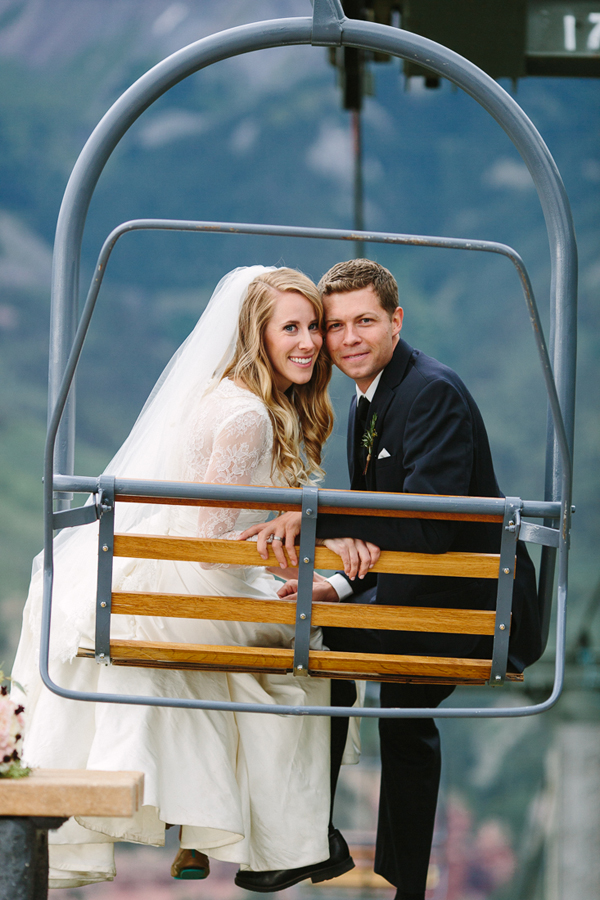 Newlyweds on Ski Lift | Cat Mayer Studio | www.catmayerstudio.com