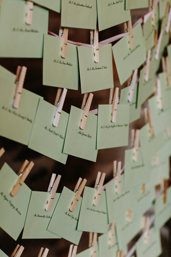 Green wedding seating cards | Cat Mayer Studio | www.catmayerstudio.com