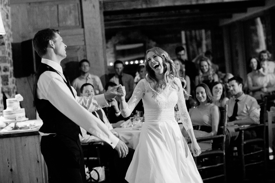 Bride and groom laughing at Allred's Telluride wedding reception | Cat Mayer Studio | www.catmayerstudio.com