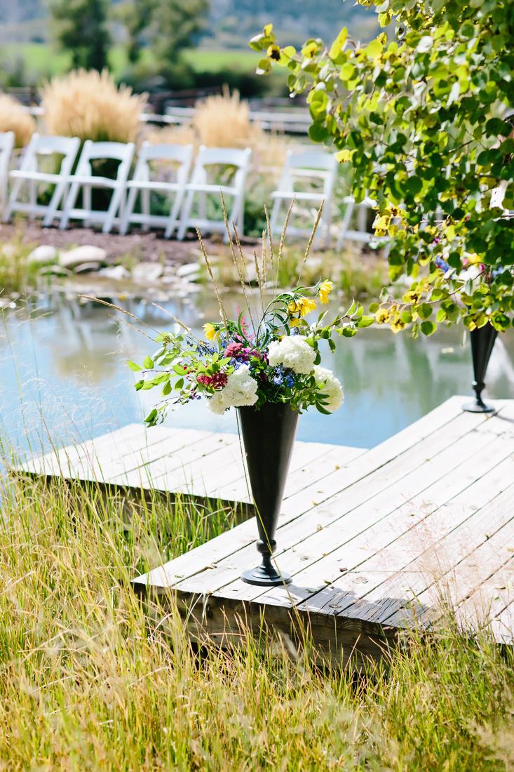 Late Summer Wildflowers On Wedding Dock | Cat Mayer Studio | www.catmayerstudio.com