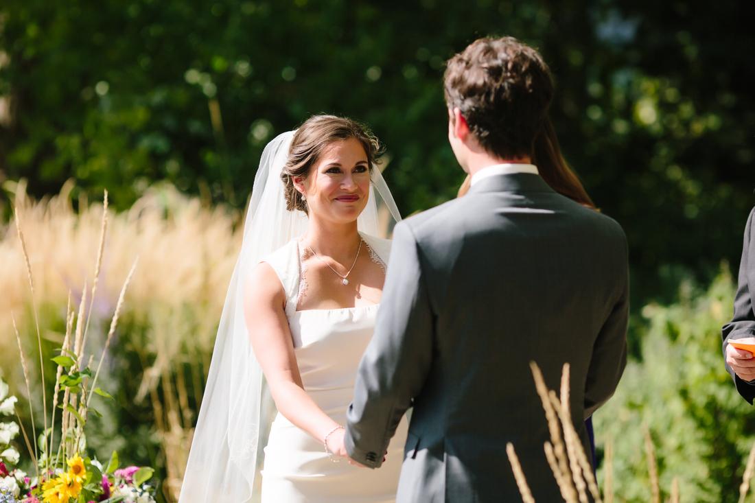 Bride Smiling at Groom During Vows | Cat Mayer Studio | www.catmayerstudio.com