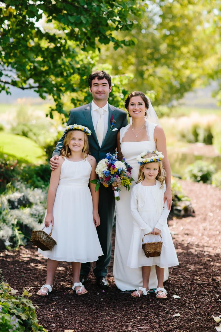 Bride, Groom and Flower Girls in Roaring Fork Valley | Cat Mayer Studio | www.catmayerstudio.com