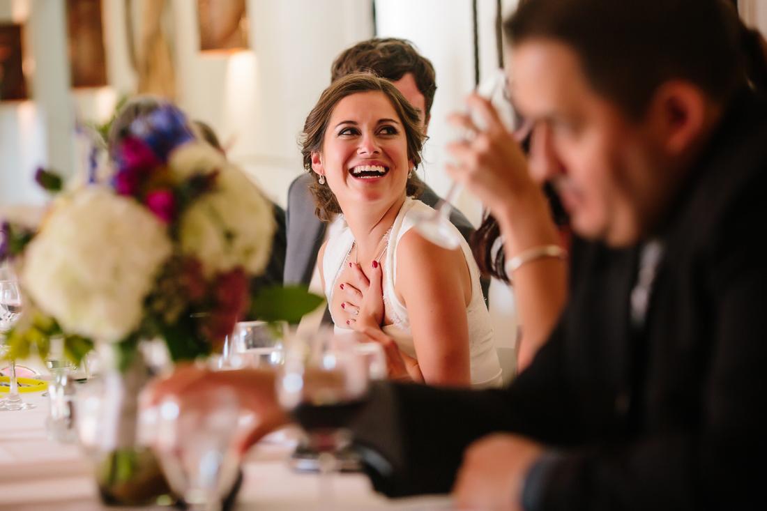 Aspen Wedding Photography | Bride Laughing at Best Man's Toast | Cat Mayer Studio | www.catmayerstudio.com