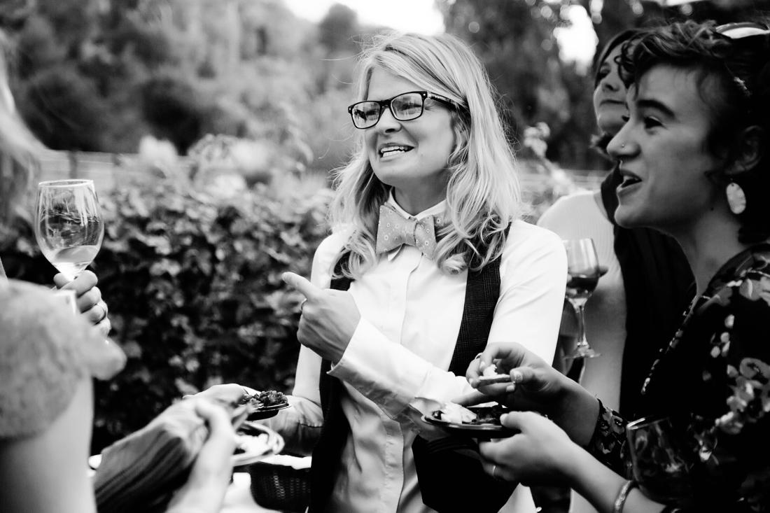 Black and White Photo of Guests at Aspen Wedding | Cat Mayer Studio | www.catmayerstudio.com