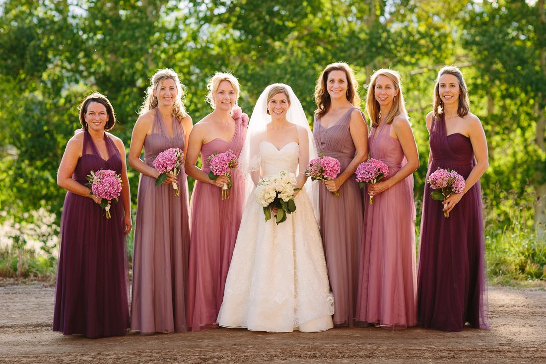 Bridesmaids with Different Shape and Color Dresses | Cat Mayer Studio | www.catmayerstudio.com