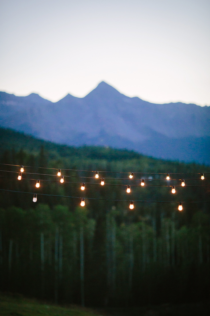 Sunset on Wilson Range Mountains and a String of Lights | Photography by Cat Mayer Studio | www.catmayerstudio.com