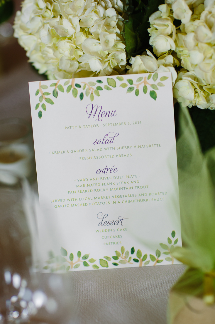 Wedding Menu with Green Leaves and White Flowers | Cat Mayer Studio | www.catmayerstudio.com