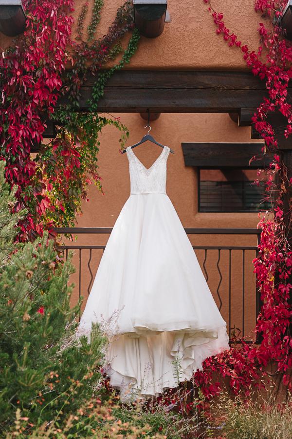 Long White Halter Wedding Dress Hanging Outdoor | Cat Mayer Photography | www.catmayerstudio.com