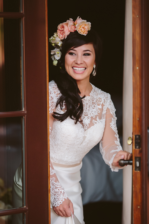 Bride with Pink Rose Headband and White Lace Sleeve Dress | Cat Mayer Photography | www.catmayerstudio.com