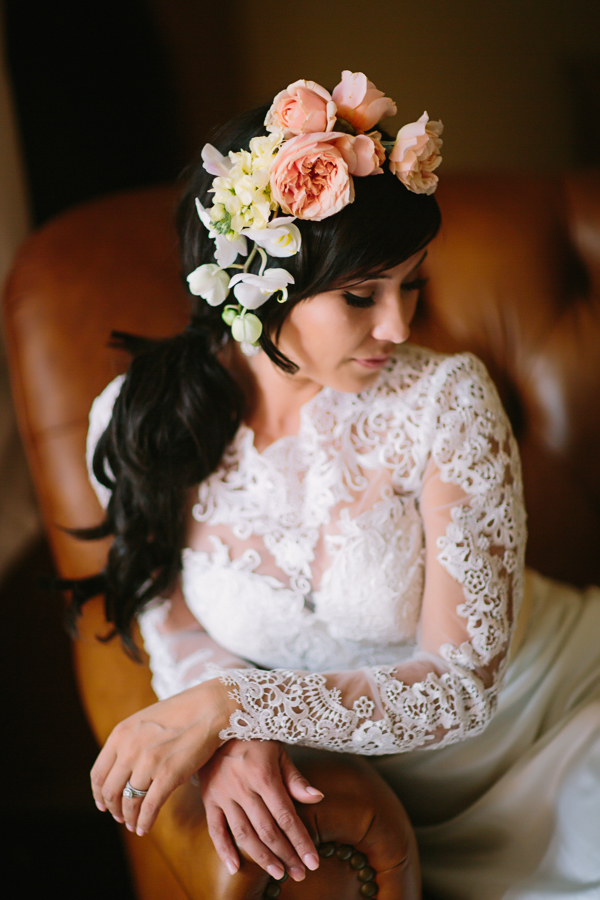 Bride with Curled Side Ponytail and Flower Headband | Cat Mayer Photography | www.catmayerstudio.com