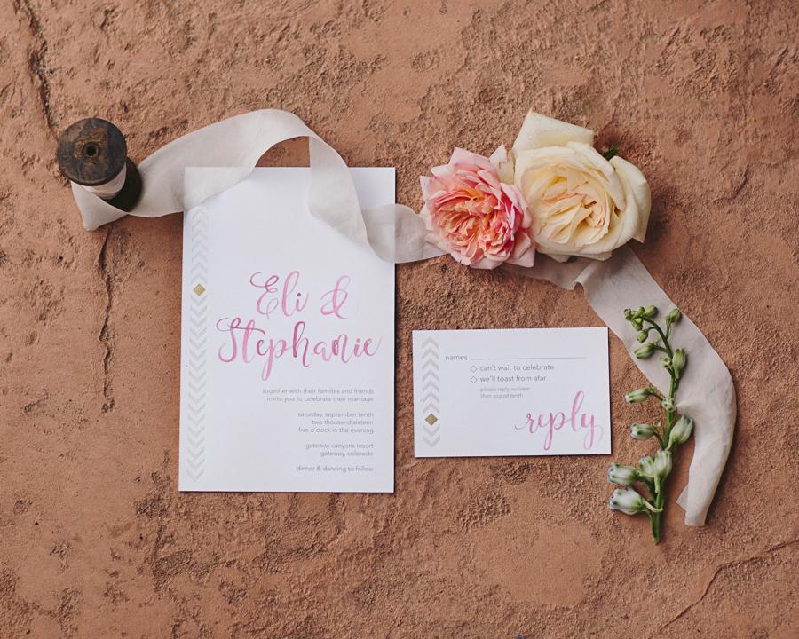 Pink Topography Wedding Invitations with White Ribbon | Cat Mayer Studio | www.catmayerstudio.com