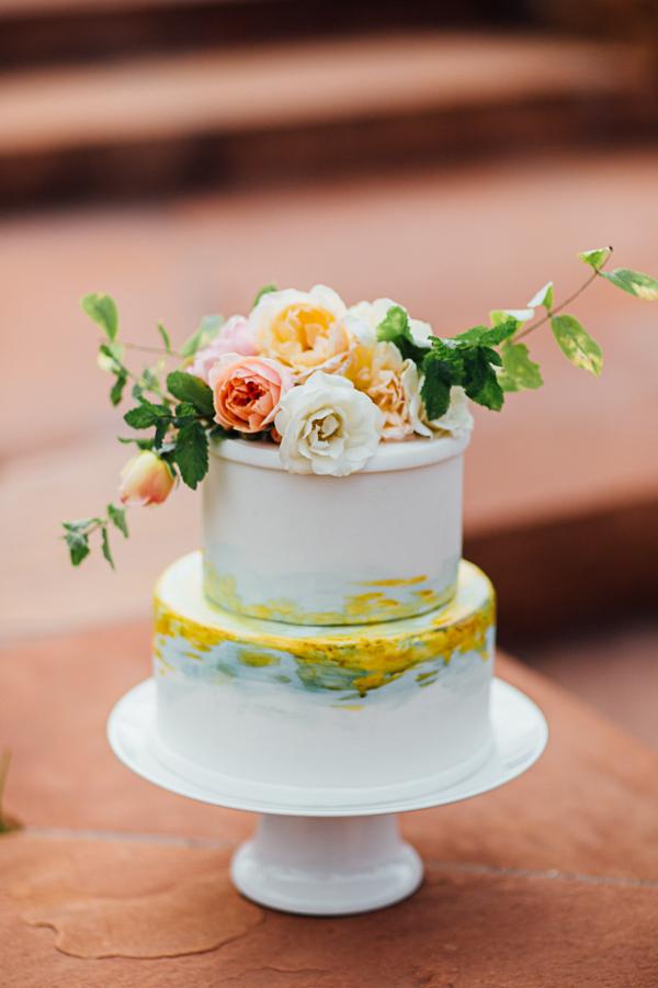 Yellow and Blue Trimmed Wedding Cake | Cat Mayer Studio | www.catmayerstudio.com