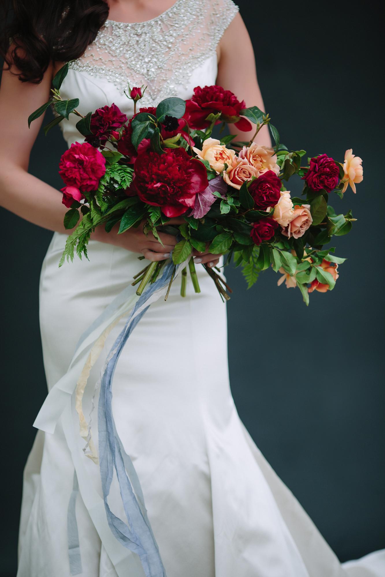 Jewel toned wedding bouquet flowers