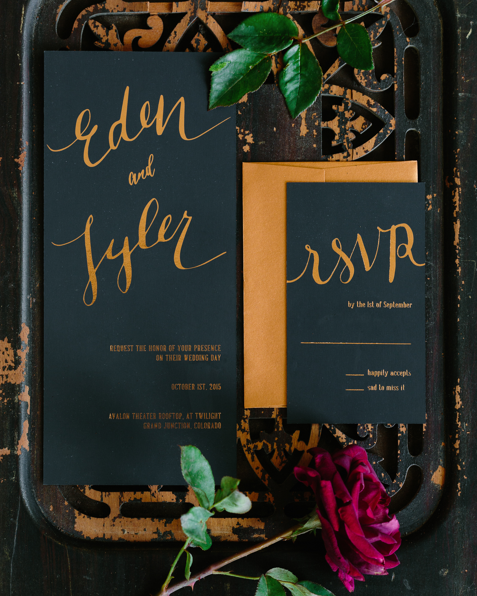 Deep and Luxurious Wedding stationery suite
