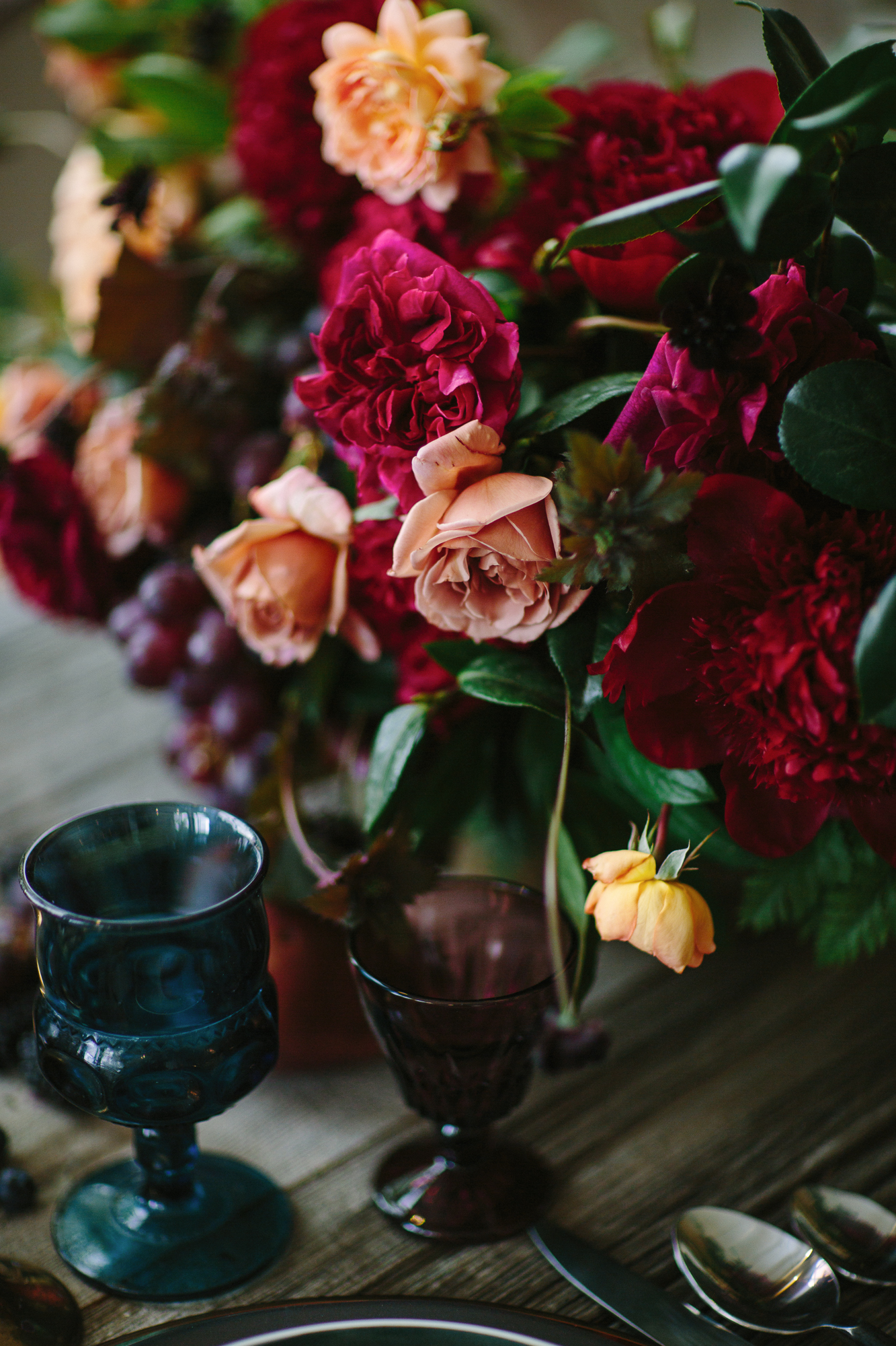 Deep and luxurious wedding flowers