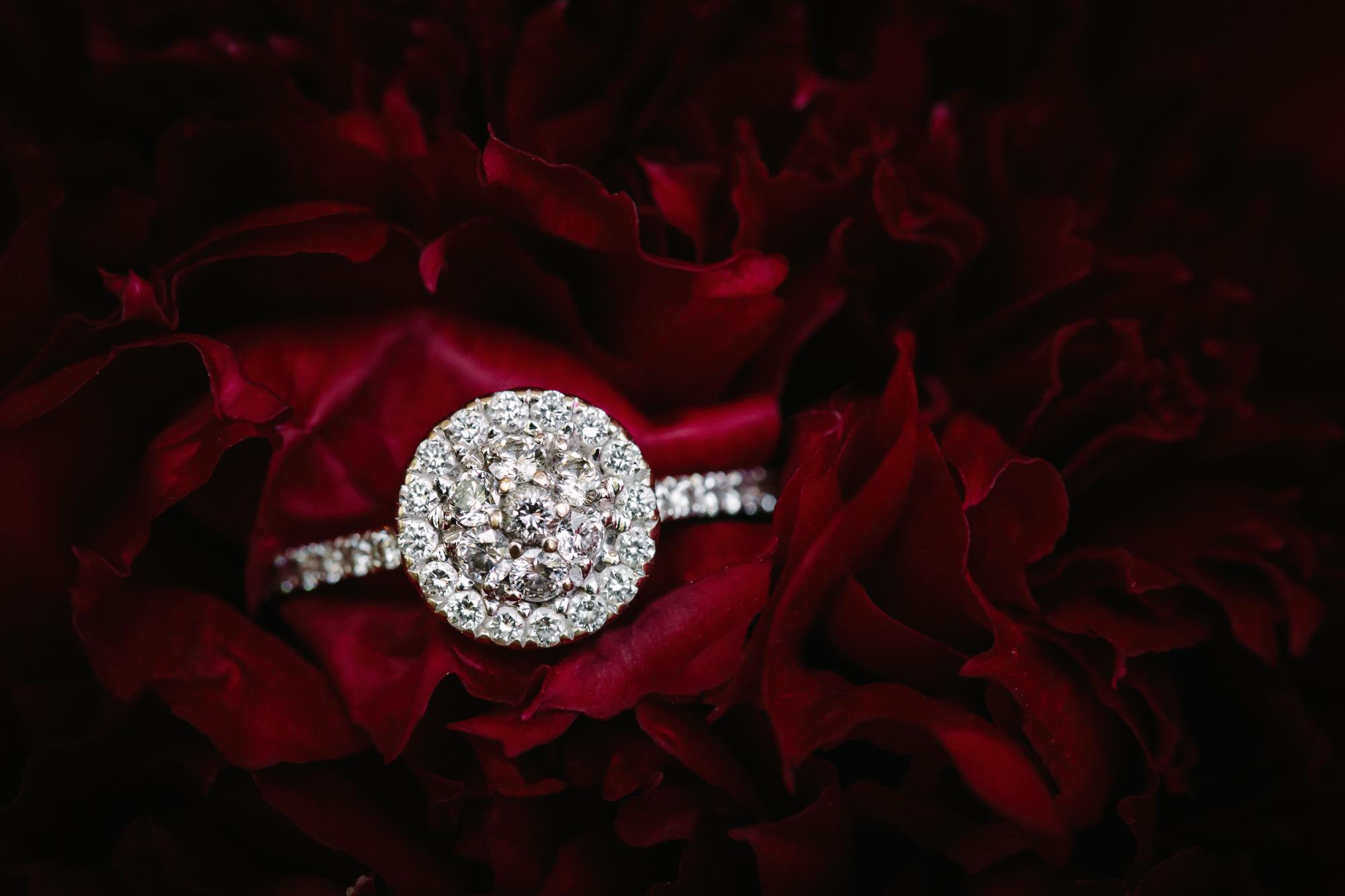 diamond wedding ring in a peony
