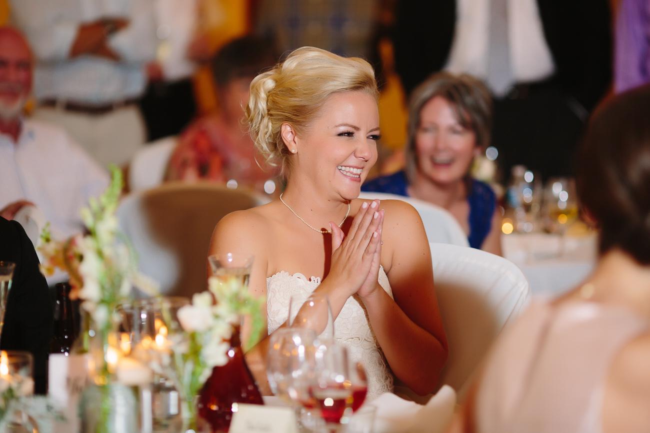 Bride Smiles During Toast | Cay Mayer Studio | www.catmayerstudio.com