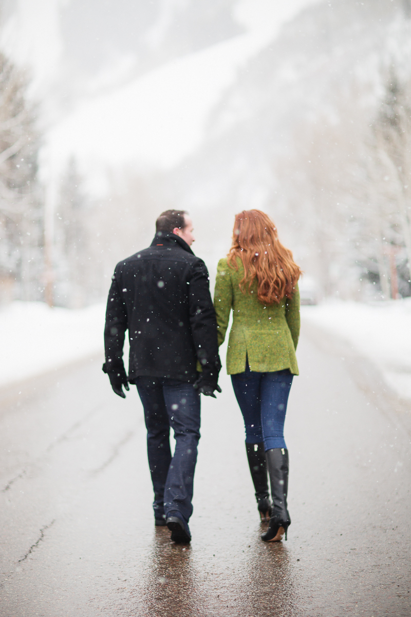 Winter engagement session in snowy Aspen