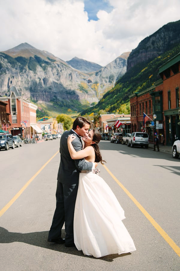 Bride and Groom with Bridal Veil Falls in the background, between ceremony and reception.