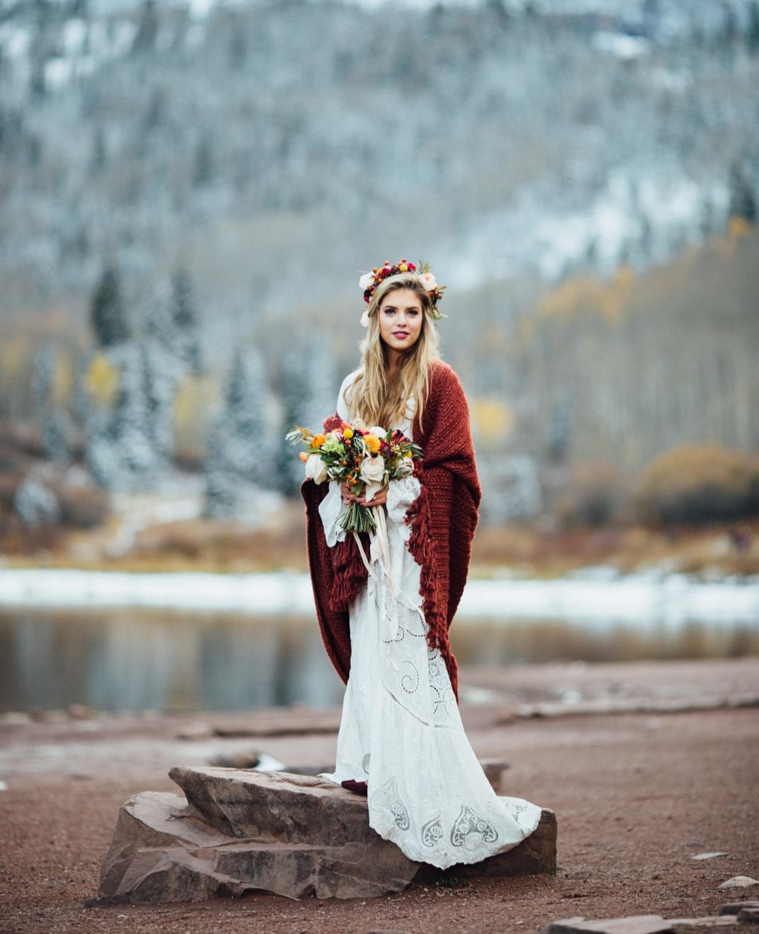 Boho Bride at Aspen Destination Wedding | Cat Mayer Studio