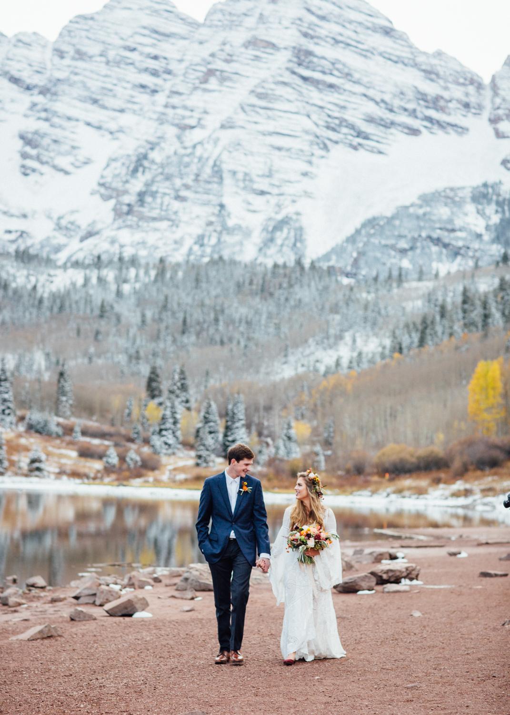 Cat Mayer | Late Autumn Elopement Wedding at Maroon Bells in Aspen, Colorado