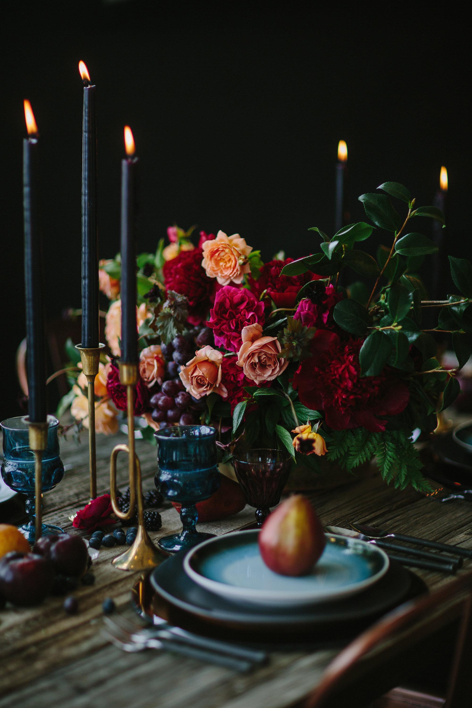 Dark Winter Wedding Inspiration with Jewel Tones & Black Candles