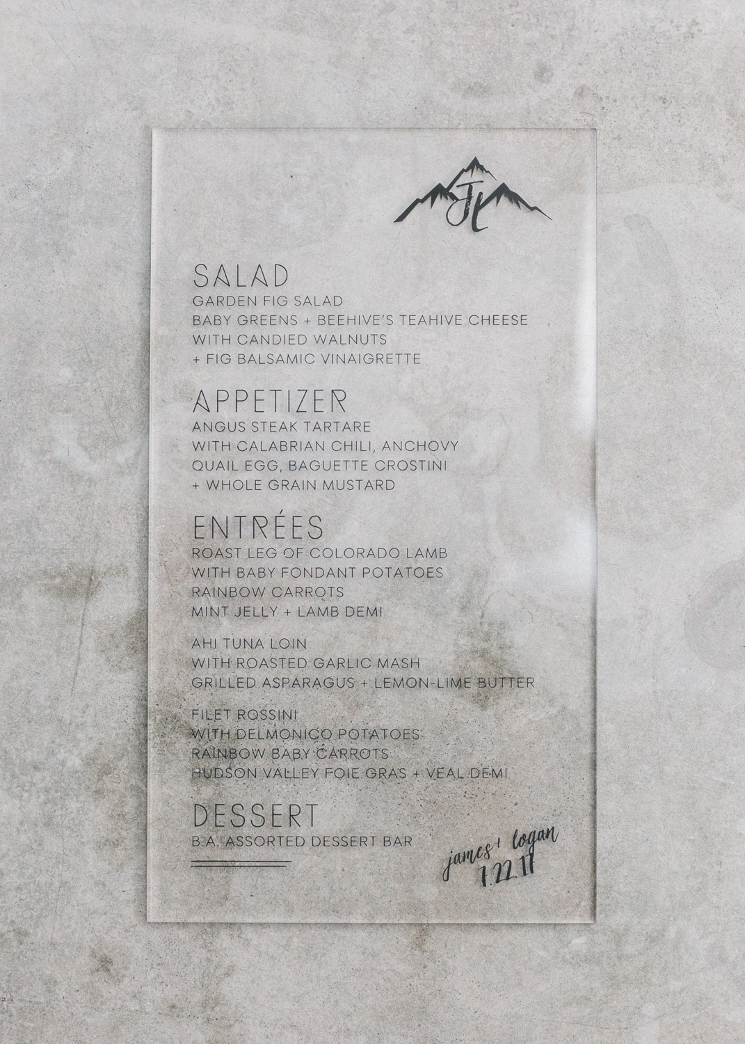 Wedding menu printed on acrylic, Zach's Cabin wedding | Cat Mayer