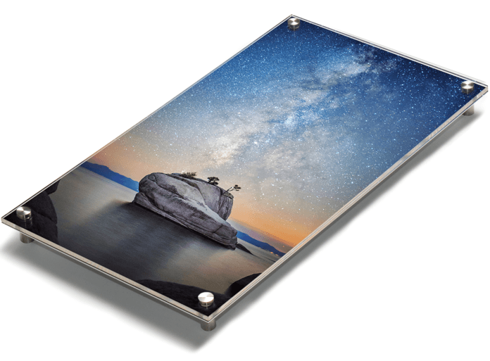 Modern acrylic prints with stainless mounting posts