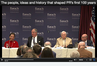 At the opening of The Museum of Public Relations at Baruch College on September 23, 2014, panelists Muriel Fox, Herb Schmertz and Harold Burson discussed the intersection between their careers and public relations.  Click here to watch the entire video
