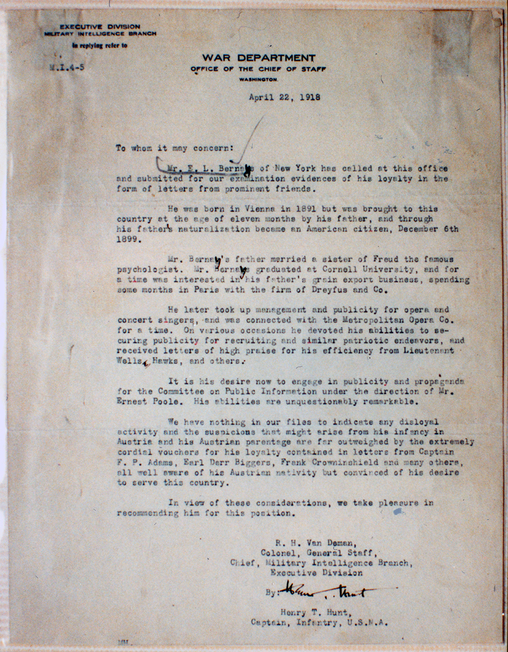 The Military Branch of the War Department clears Bernays to work for the Committee on Public Information. This letter is, in a way, an abbreviated bio of Bernays, referring both to his relationship to Sigmund Freud and his early years in the United States.
