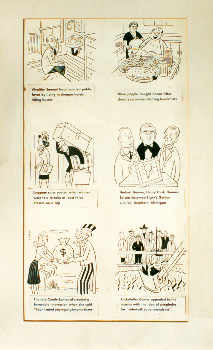 In an illustration belonging to Bernays, six of his campaigns were captured in single frame cartoons.