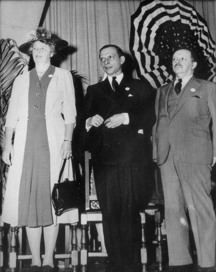 Left to right: Mrs. Eleanor Roosevelt, Frank Calderone, and Bernays.