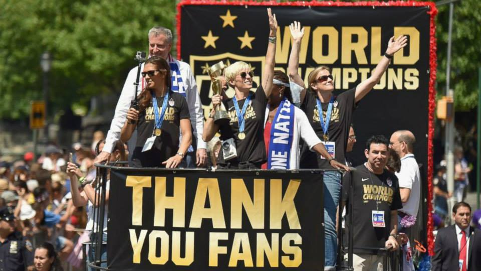 July 10, 2015: The U.S. Women's Soccer team is honored with a historic ticker-tape parade. The parade marks the first time a women's sports team is receiving a ride down the famous Canyon of Heroes.