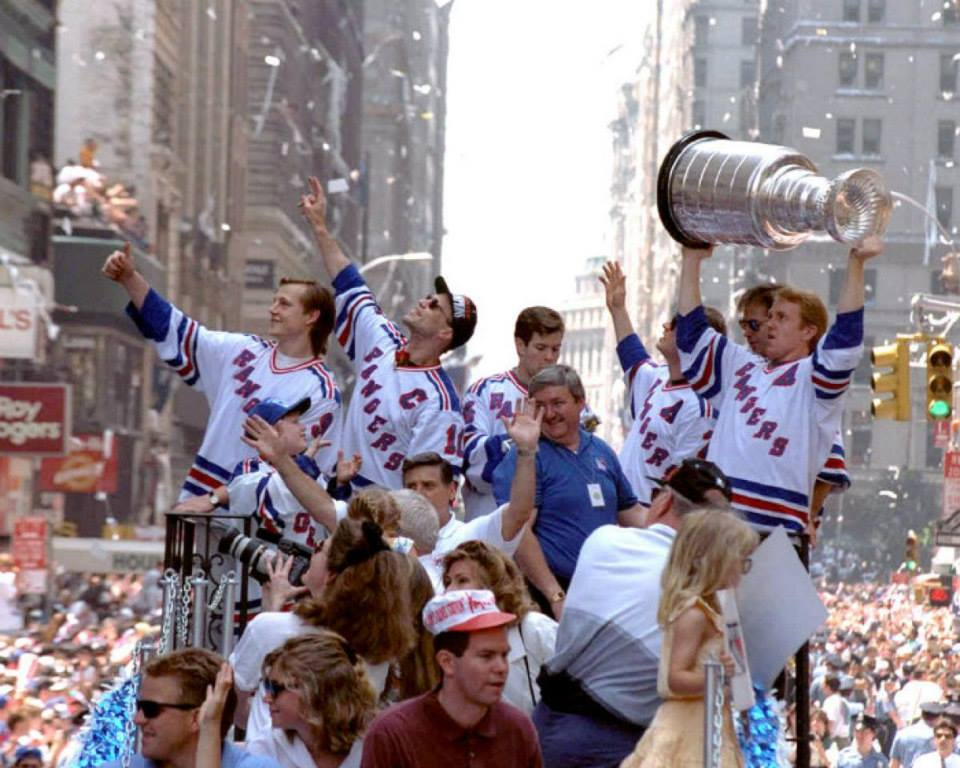 June 17, 1994: The New York Rangers celebrate their 4th Stanley Cup title.