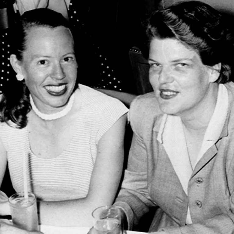Phyllis Leon and Del Martin, a lesbian couple who founded the publication  The Ladder . The pioneering magazine spoke for lesbians and lesbian issues and was a method of communication for the Daughters of Bilitis (a lesbian organization also founded by Leon and Martin).   Photo: GLBT Historical Society.