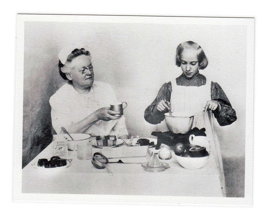 Fannie Merritt Farmer, left, with a student at the Boston Cooking School.  Photo by NY Times.