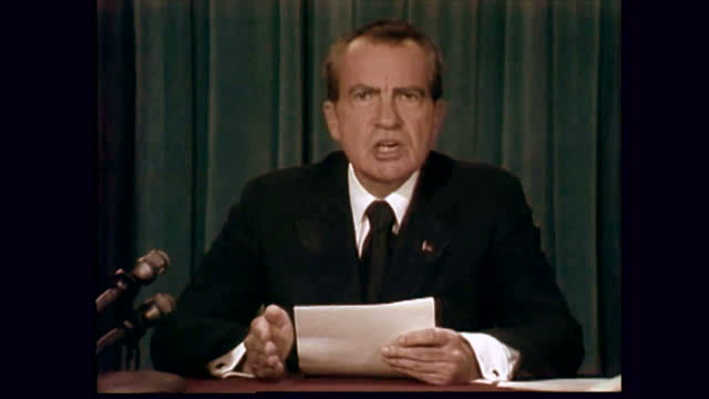 """President Nixon delivers his resignation speech on August 8th, 1974. """"To continue to fight through the months ahead for my personal vindication would almost totally absorb the time and attention of both the President and the Congress in a period when our entire focus should be on the great issues of peace abroad and prosperity without inflation at home,"""" he said."""