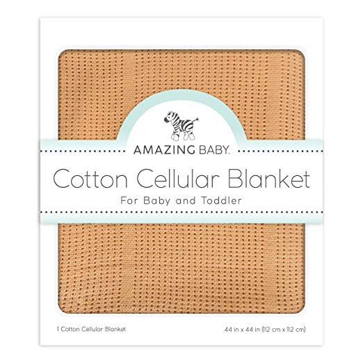 Amazing Baby Cellular Blanket, Premium Cotton, Butterum