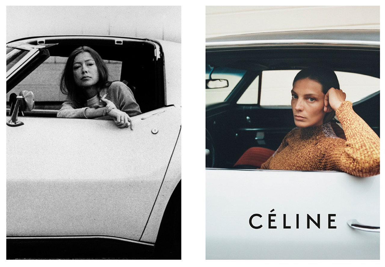 Joan Didion Céline Campaign  Photo: (from left) Julian Wasser/The LIFE Images Collecion/Getty Images; Tyrone Lebon, Courtesy of Céline