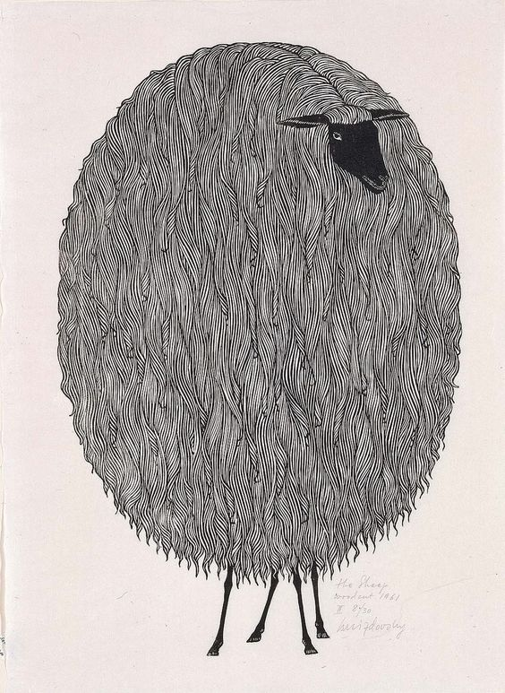 Jacques Hnizdovsky - The Sheep, woodcut, 1961