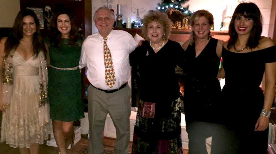 My daughters, parents and sister (and me) on Christmas Eve 2014.
