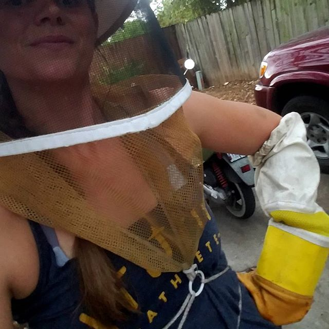 That look when it's raining and you've got to get into a hive to release a queen, but ya know the bees are gonna HATE you for it, and all you got on ya is gloves and a veil and a really stinky gym tank and yoga pants.  #letsdothis #pleasebenicetome