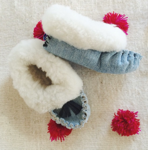 Recycled Denim Baby Slippers by Accompany  $36