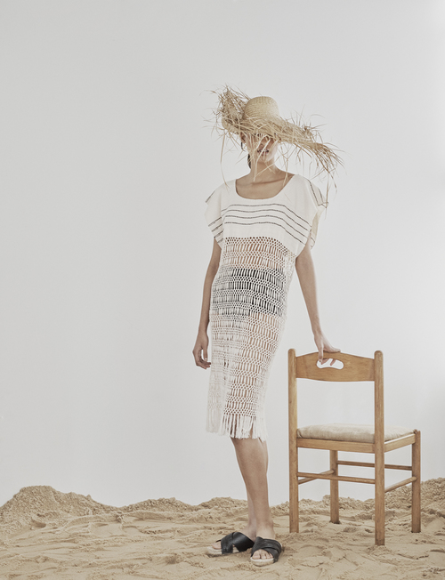 Macrame Fringe Dress by Jaline $375